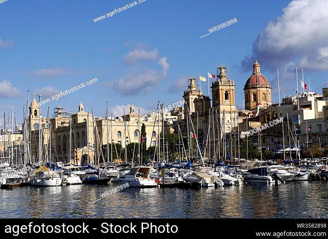 Blick von Senglea auf Vittoriosa und den Yachthafen, Malta