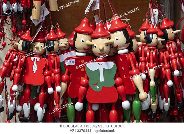 Scores of Pinnochios Wait for a Child's Attention in Store in Assisi Umbria Italy World Location