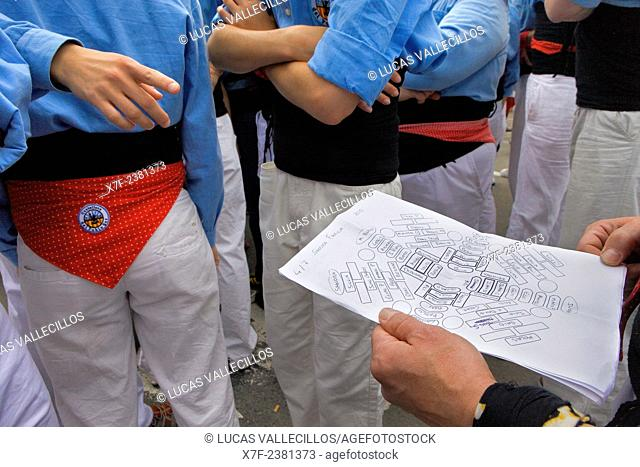 Planning to build a human tower. Castellers de Poble-sec.'Castellers' is a Catalan tradition. Barcelona, Spain