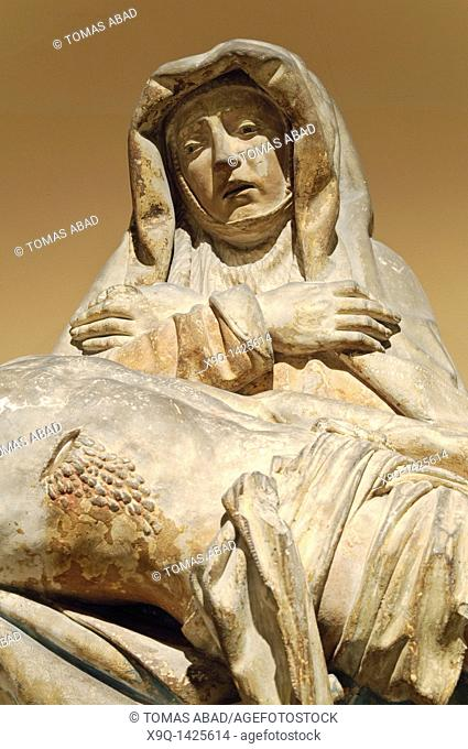Detail: Pietà with Donors, ca  1515, French, Made in Biron, Perigord, Limestone, traces of polychromy Overall: 43 3/8 x 92 1/2 x 22 in , 110 2 x 235 x 55 9 cm