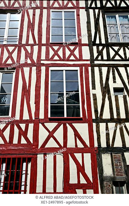 Windows, houses, Rouen, Normandy, France
