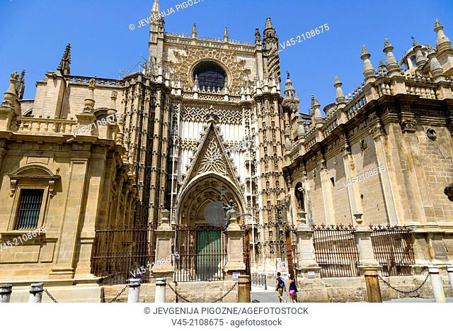 The Cathedral of Saint Mary of the See, Catedral de Santa Maria de la Sede,Seville Cathedral, Seville, Sevilla, Andalusia, Spain