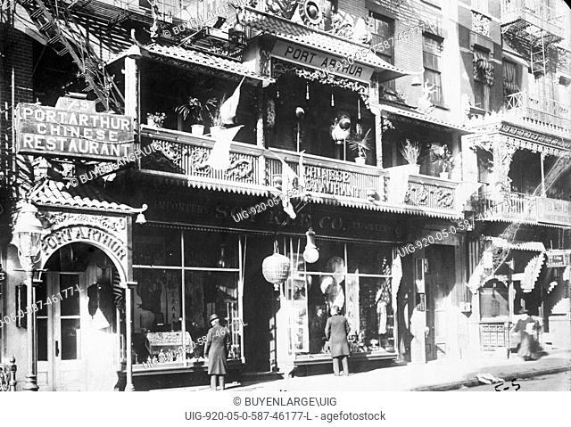 Street Scene Port Arthur Restaurant in Chinatown, New York