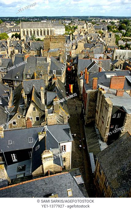 Townscape view of Dinan, a medieval town in Brittany, France