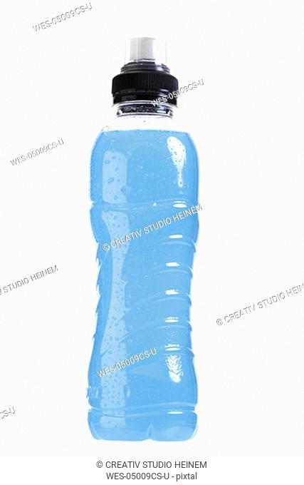 Bottle of blue liquid