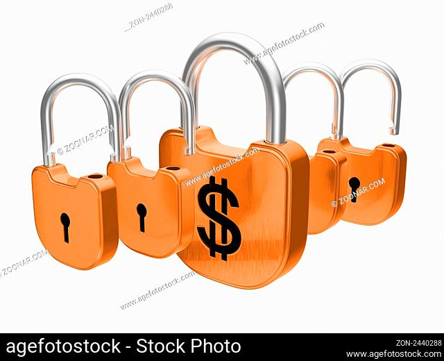 Padlocks - US dollar currency safety concept. Isolated over white