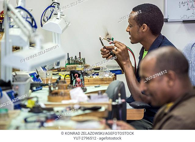 Ethiopian students of Megemeria School of Jewelry and Art in Yvel Design Center jewellery factory in Motza, Jerusalem city, Israel