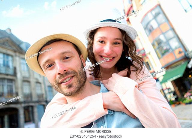 View of a Young happy couple having fun on holidays