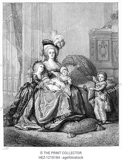 Marie Antoinette And Her Children, c1787, (1885). Queen Marie Antoinette (1755-1793), with Louis Joseph Francois, Louis Charles, and Marie Therese Charlotte