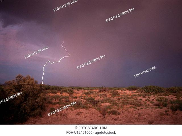 view, stormy, landscape, desert, clouds, lightning