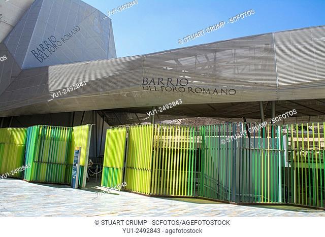 Modern entrance to the ruins of the Roman Forum in Cartagena, Barrio Del Foro Romano