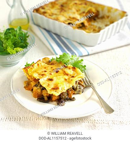 Roasted Butternut Squash and Mushroom Lasagne, portion