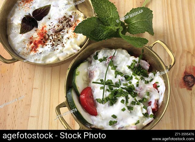 Cucumber raita, South Asian, yogurt side dish,