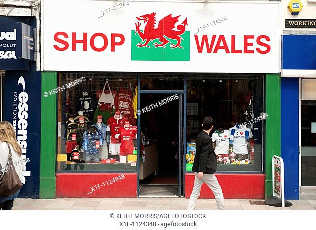Shop wales souvenier store, Cardiff city, Wales UK