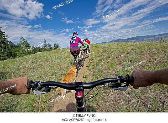 A family of mountain bikers and their dog enjoy the trails just North of Kamloops, Thompson Okanagan region, British Columbia, Canada