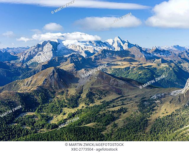 Mount Marmolada, the queen of the dolomites. The Dolomites are listed as UNESCO World heritage. europe, central europe, italy
