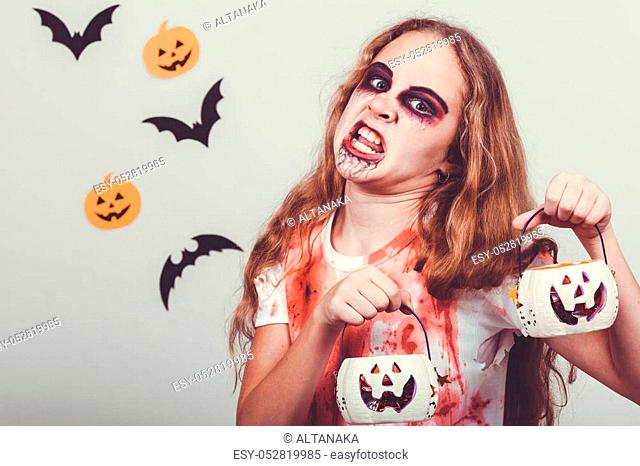 Teen girl in costume zombie. Concept of death on Halloween party