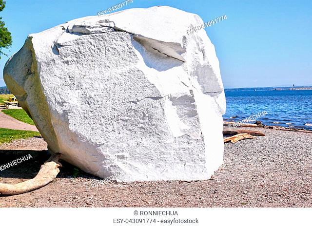 Famous boulder at the coastal city of White Rock, British Columbia, surrounding Semiahmoo Bay near Vancouver. The area is popular for its 2
