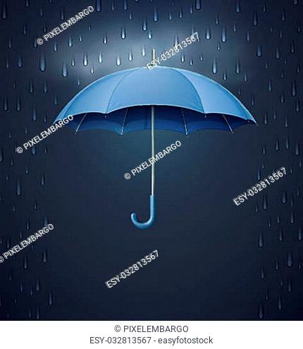 Vector illustration of cool single weather icon - elegant opened umbrella with heavy fall rain in the dark sky