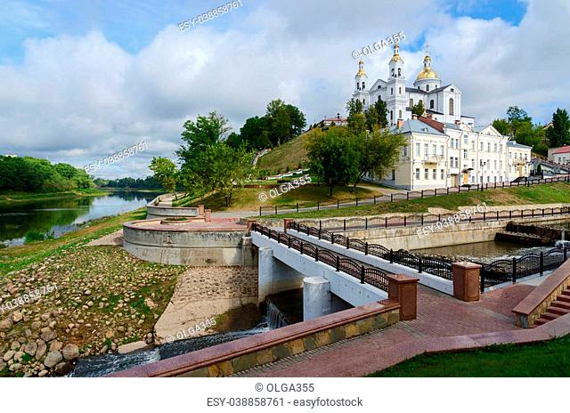 Holy Dormition Cathedral on the Assumption hill above shallowed Western Dvina, Vitebsk