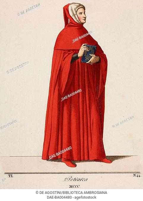 Francesco Petrarca (1304-1374) wearing a red robe and hood lined with ermine, illustration from Historical Costumes from the 13th-15th Centuries by Camillo...