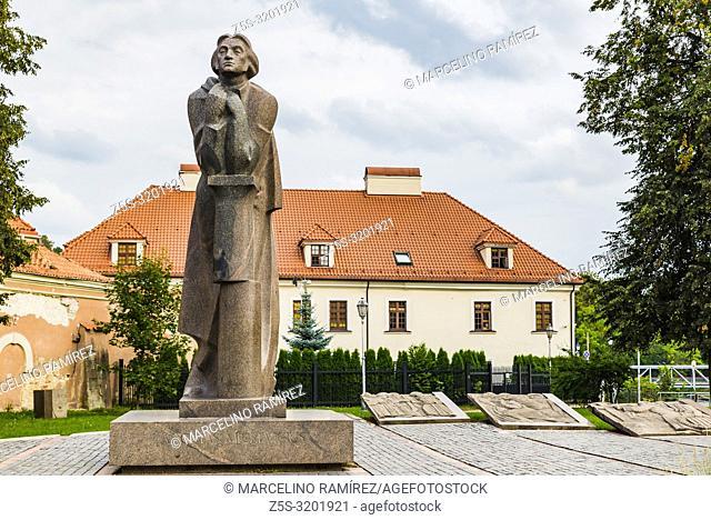 Adam Mickiewicz monument in Vilnius. Adam Bernard Mickiewicz was a Polish poet, dramatist, essayist, publicist, translator, professor of Slavic literature