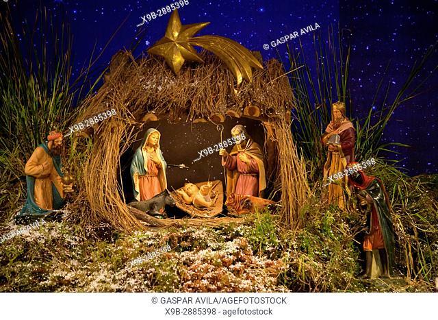 Nativity scene with baby Jesus, Virgin Mary, Saint Joseph and the Three Wise Men