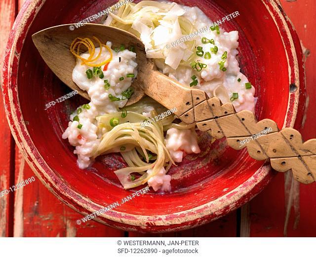 Risotto with fennel, chili and orange peel