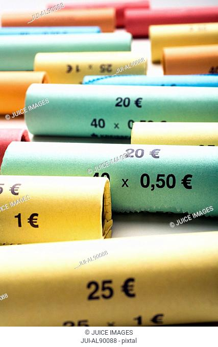 Rolls of assorted Euro coins