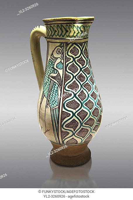 Medieval ceramic jug made in Orvieto or Sienna, Italy, at the end of the 14th century. From Faience. inv 7394, The Louvre Museum, Paris