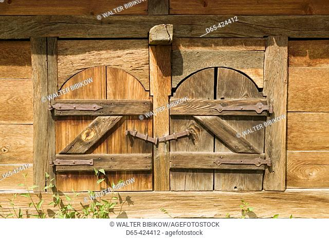 Szentendre: Hungarian Open Air Ethnographic Museum. Wooden Barn Door. Danube bend. Hungary. 2004