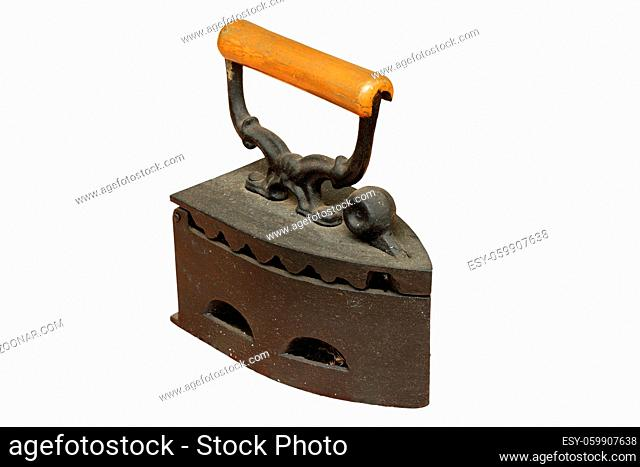 rusty weathered iron with charcoal, vintage object isolated over white background