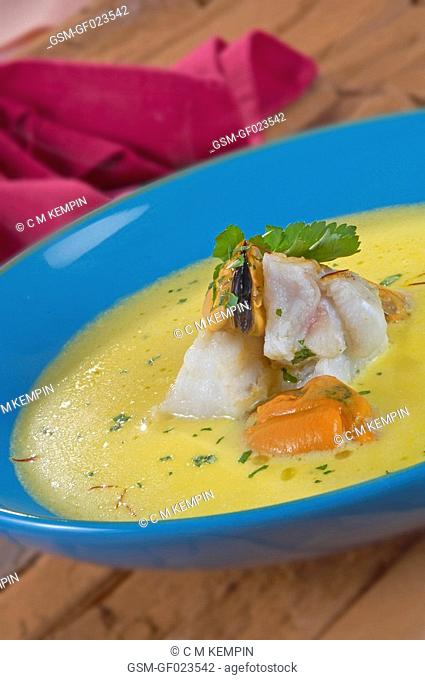 Mussel and monkfish soup with saffron