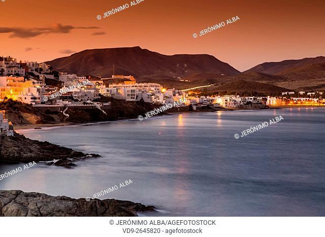 Mediterranean Sea and beach at dusk. San José Cabo de Gata Nijar, Natural Park Biosphere Reserve. Almeria province, Andalusia, Spain Europe