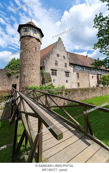 City tower, Diebesturm, and winery, Michelstadt, Odenwald, Hesse, Germany