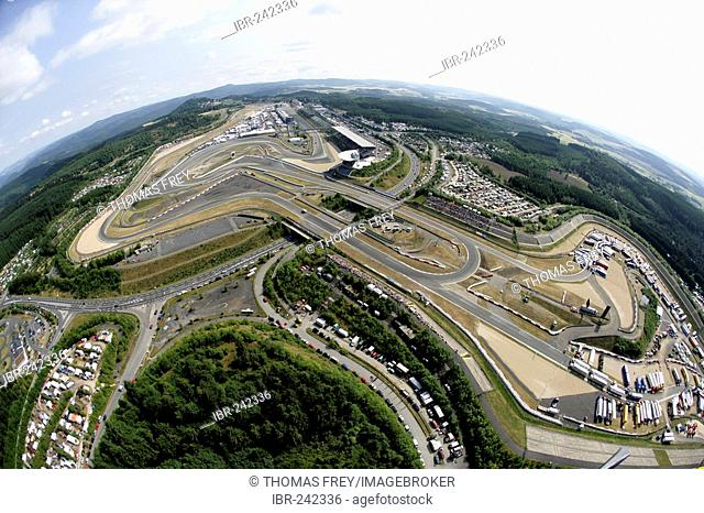 Air view from the racetrack Nuerburgring Rhineland-Palatinate Germany