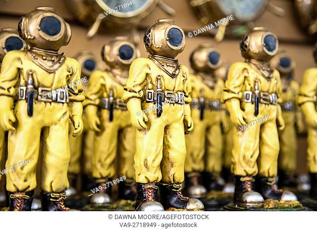 Diver Figurines Lined Up on a Shelf, Tarpon Springs, Florida