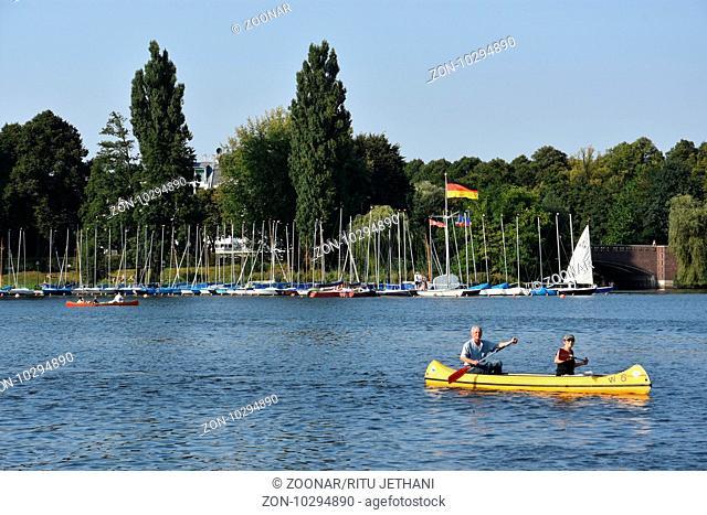View around Lake Alster in Hamburg, Germany