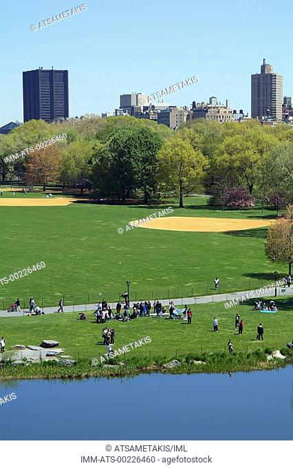 Central Park, view of the Great Lawn from the Belvedere Castle, New York City, New York, United States, North America