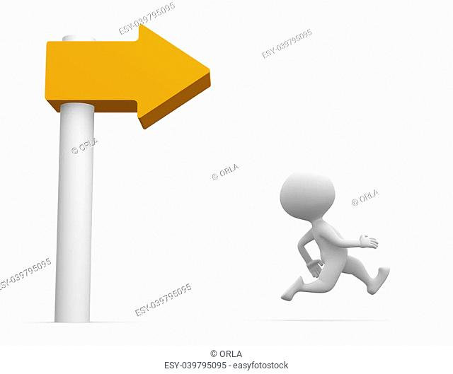 3d people - man, person running and directional sign