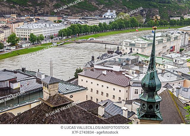 View of Salzach river and old town, Salzburg, Austria