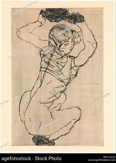 Squatting Woman. Series/Portfolio: From the portfolio Das Graphisce Werk von Egon Schiele 1922; Artist: Egon Schiele (Austrian