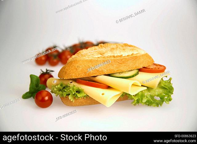 Cheese, cucumber and tomato sandwich