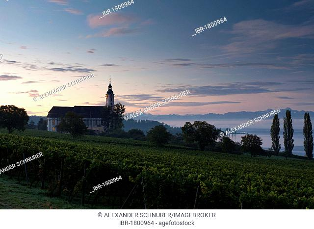 The pilgrimage church Birnau on Lake Constance at dawn with a view of the Alps, Bodenseekreis district, Baden-Wuerttemberg, Germany, Europe