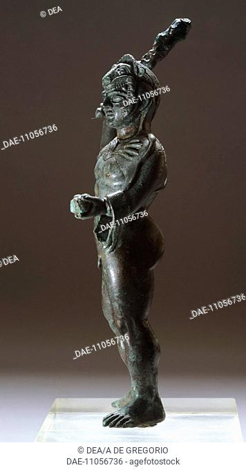 Bronze statuette depicting Hercules in battle, side view, from the Sanctuary of Villa Cassarini (Bologna). Etruscan Civilization, ca 400 BC