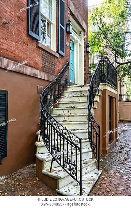 Savannah, GA, USA. Looking at the Main Entry Stairway, Porch and Door of a Restored Historic District Home. Beautifully Maintained and Very Much a Home of Today...