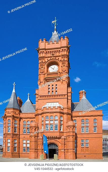The Pierhead Building. Building of the National Assembly for Wales. Welsh history museum, by Welsh architect, William Frame. Cardiff Bay. Cardiff