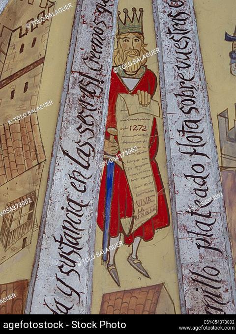 pintura mural representando la vida en el pueblo medieval, siglo XX, Iglesia parroquial de Nuestra Señora de la Asunción, Artziniega, Alava, Pais Vasco, Spain