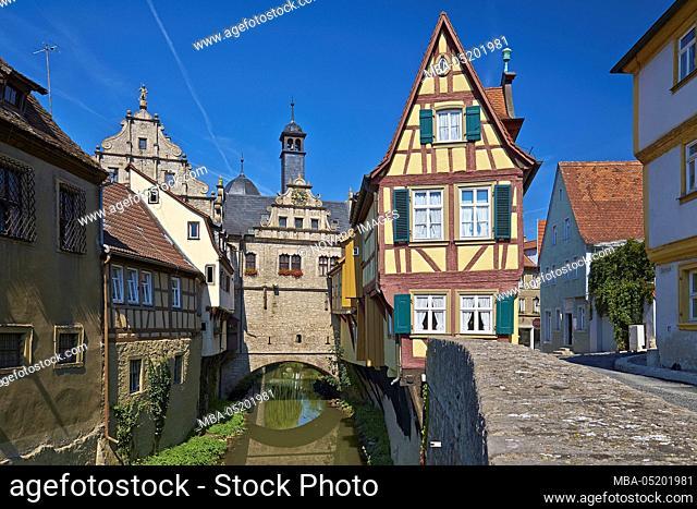 Bridge Town Hall and Malerwinkelhaus in Marktbreit, Lower Franconia, Bavaria, Germany