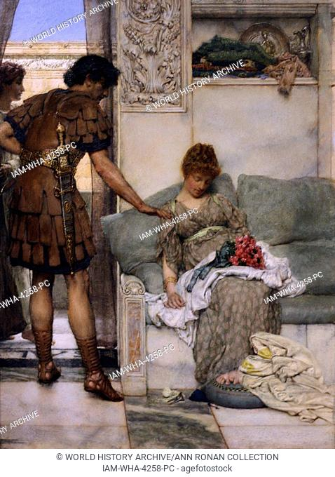 A Silent Greeting by Lawrence Alma-Tadema. Oil on Wood, circa 1889. The image shows a Roman Soldier leaving flowers in the lap of his lover to surprise her when...